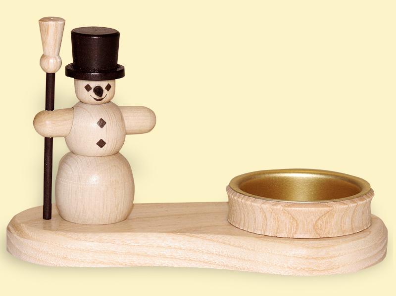Teelichthalter Schneemann natur