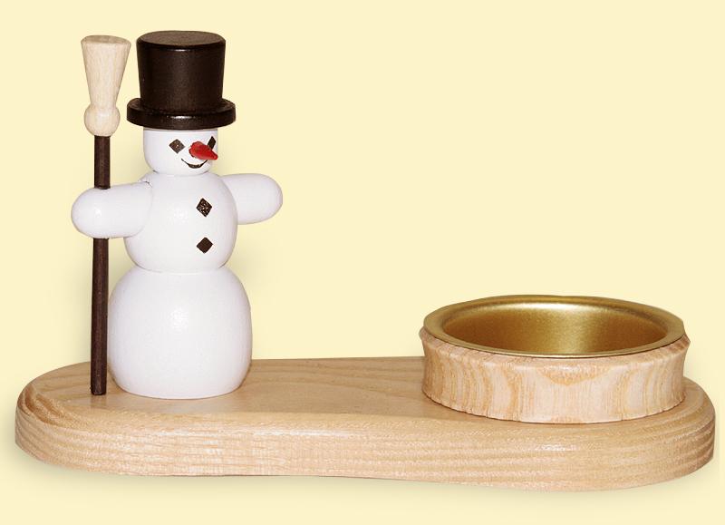 Teelichthalter Schneemann bunt