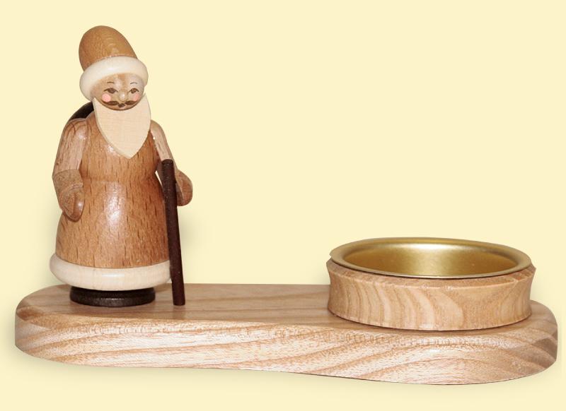 Teelichthalter Weihnachtsmann natur