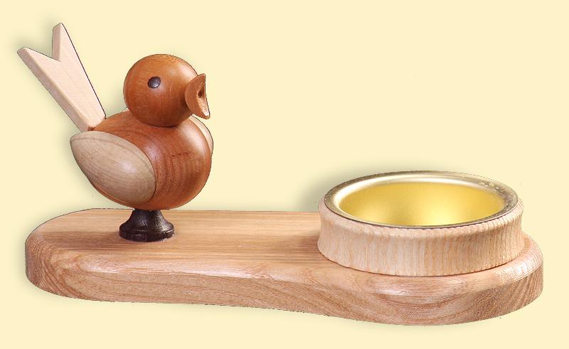 Teelichthalter mit Vogel